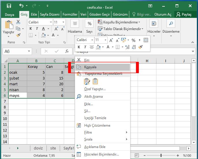 Excel'de Özel yapıştırma seçeneği ile aşağıdan yukarı yada yukardan aşağı taşı satır ve sütunlar nasıl taşınır?
