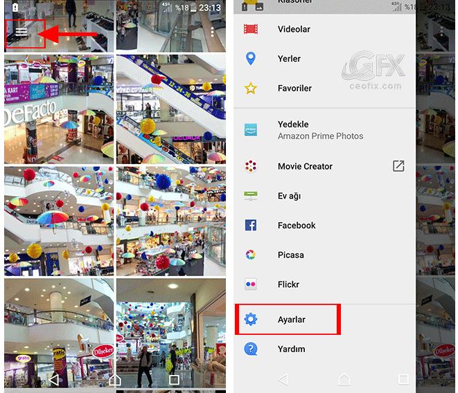 Android telefonun albüm uygulamasında karanlık tema nasıl ayarlanır?