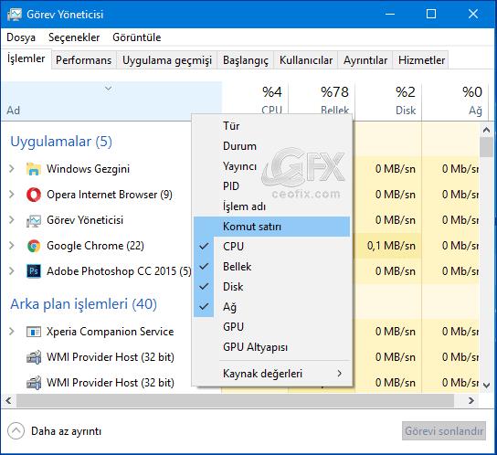Windows 10'da Görev Yöneticisinde Komut Satırını Gösterme