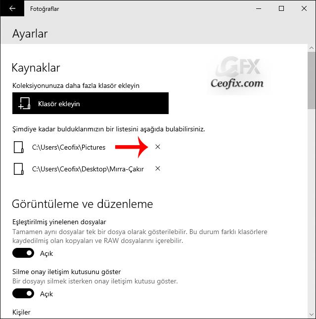 Fotoğraflar uygulamasına eklenen klasörler nasıl kaldırılır?