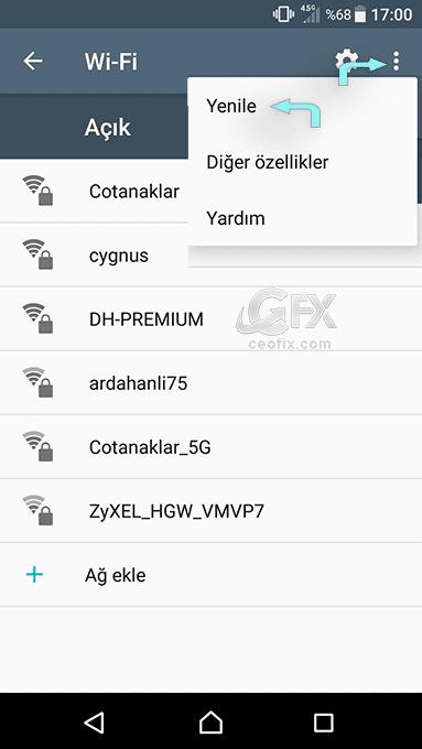 Telefonda Wi-Fi Ağı Sıfırlama -Wi-Fi Unutma