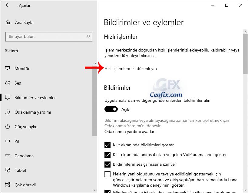 Windows 10 Eylem Merkezi Ayarları