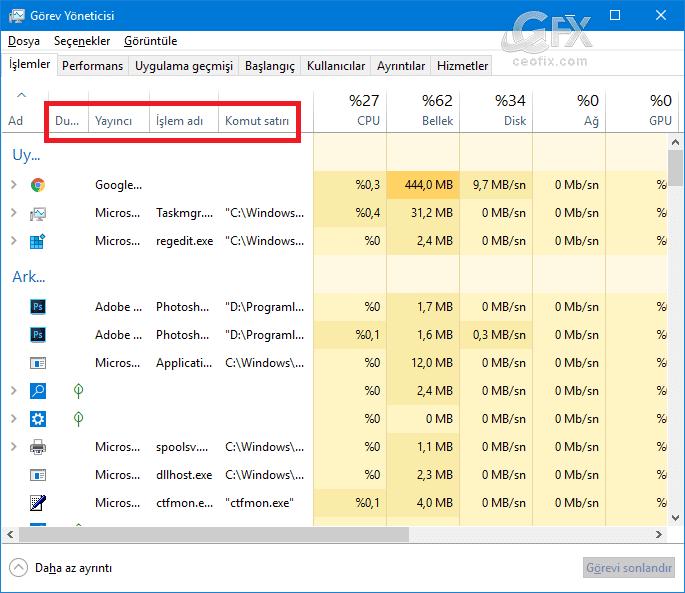 Windows 10'da görev yöneticisi ayarları nasıl sıfırlanır?
