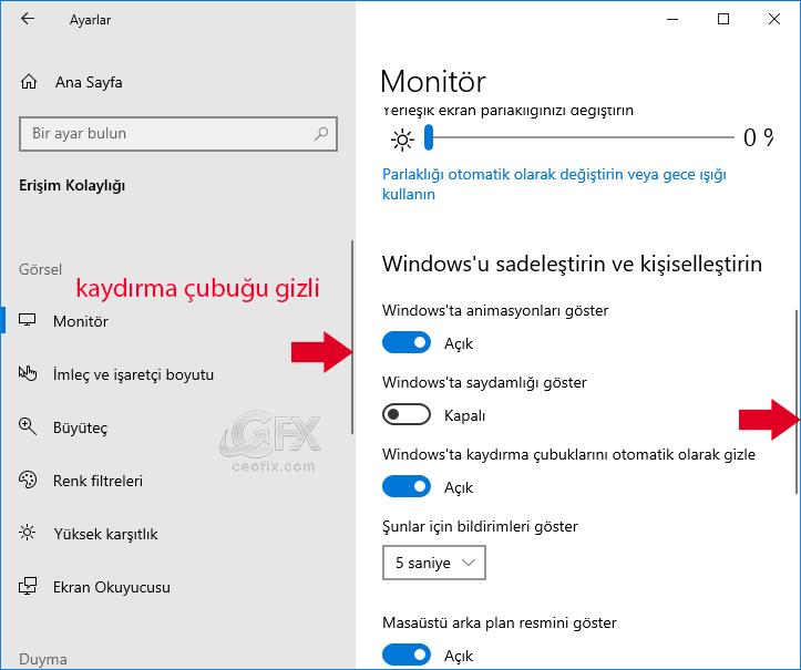 Windows'da Kaydırma Çubuklarını Otomatik Olarak Gizle