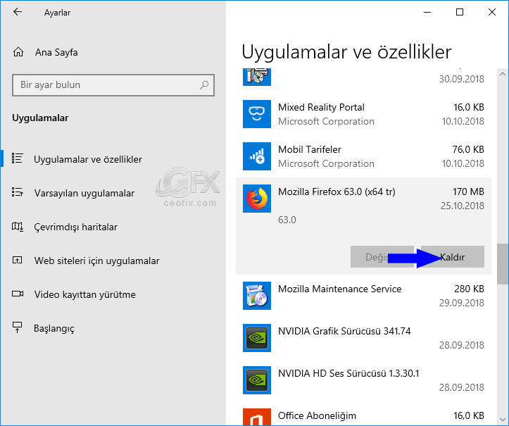 Windows 10'da ayarlar arayüzünden programları kaldırma: