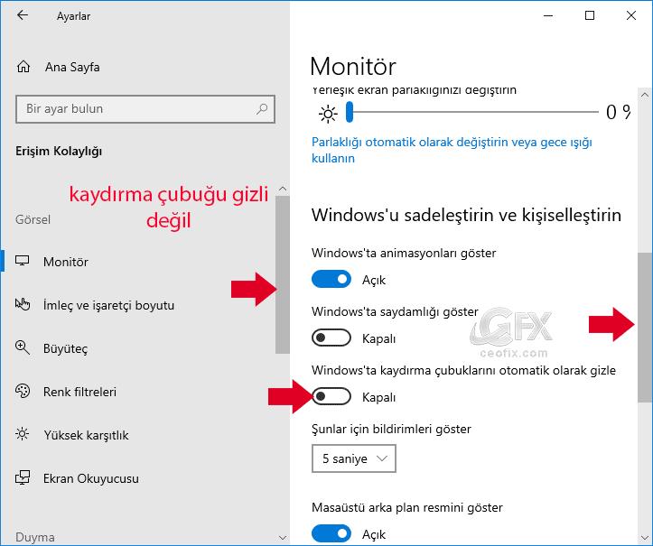 Windows 10'da Kaydırma çubuğu Nasıl Görünür yapılır?