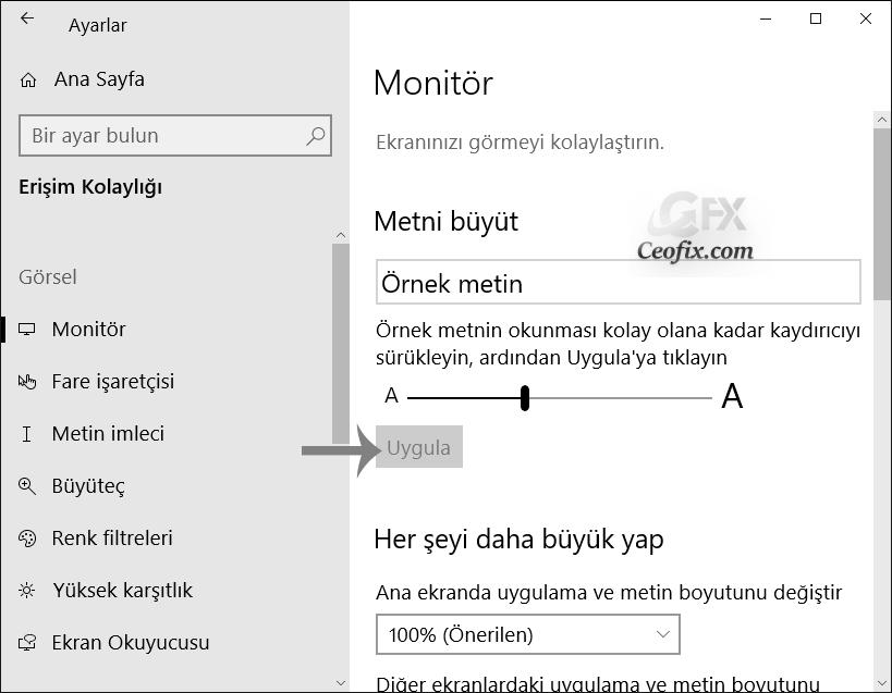 Windows 10'da Yazı boyutu nasıl değiştirilir?