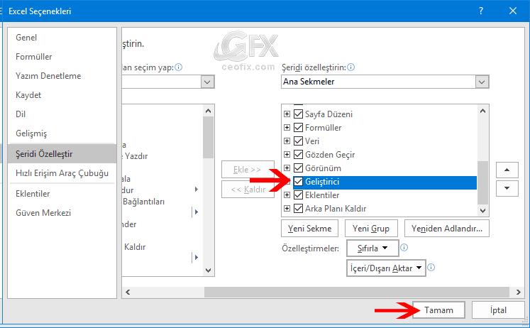Excel'de Geliştirici Sekmesini Göster