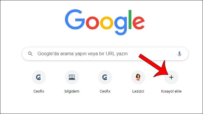 Chrome'a Kısayol Ekle