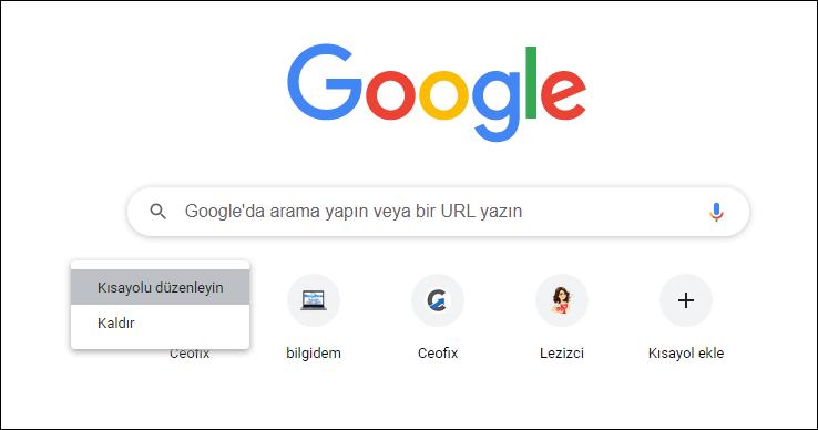 Google Chrome'dan Kısayolları Kaldır ve düzenle