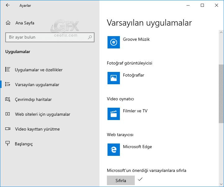 Uygulamaları Microsoft'un varsayılanına sıfırlama