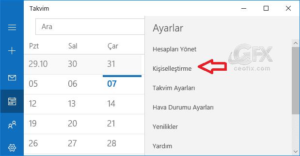 Windows 10 Takvim Uygulaması kişiselleştirme