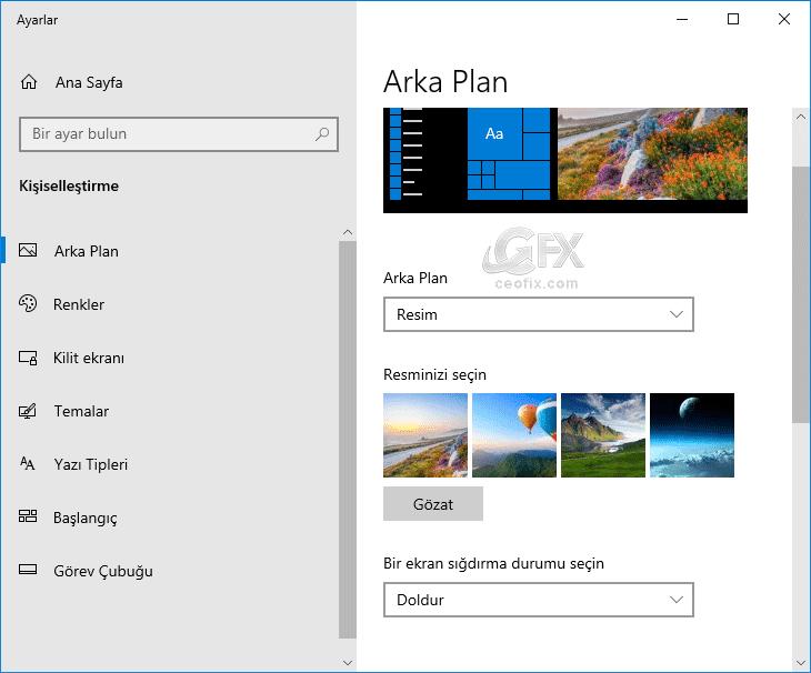 Windows 10'da duvar kâğıdı nasıl değiştirilir?