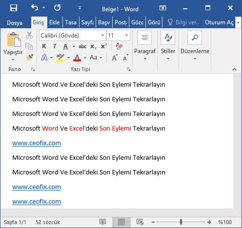 Microsoft Word Ve Excel'deki Son Eylemi Tekrarlayın