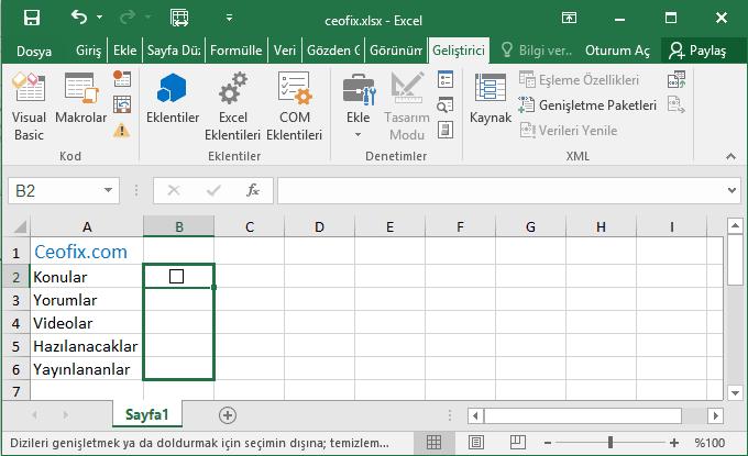 Excel'de Onay Kutulu Yapılacaklar Listesi Hazırla