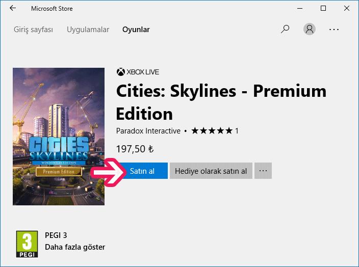 Windows 10 Microsoft Mağazası'ndan ücretli oyun indirme -