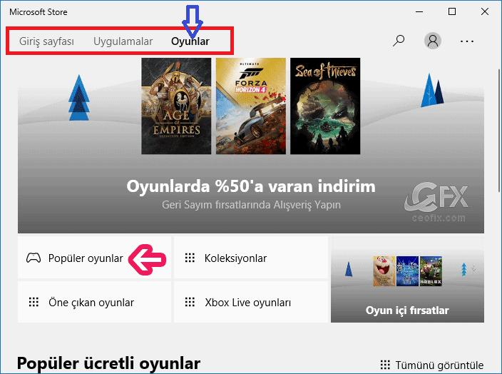 Windows 10 Microsoft Mağazası'ndan oyun arama