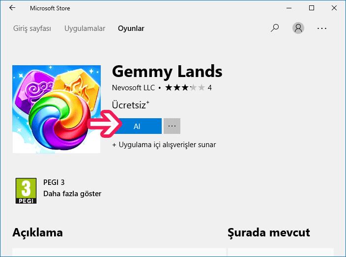 Windows 10'da mağazadan uygulama ve oyun yükleme