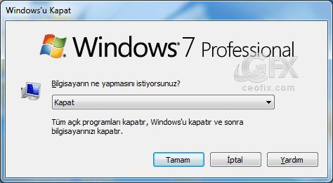 Windows kapatma seçenekleri