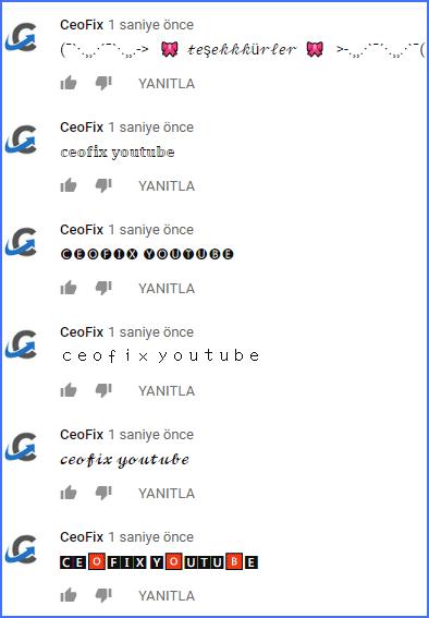 Youtube'da yazı fontunu değiştirme