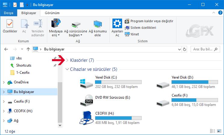 Windows 10'da Bu Bilgisayar Klasörlerini Gizle: