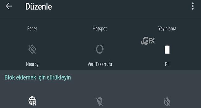 Android'de Bildirim Sekmesindeki Hızlı Ayarları Sıfırla