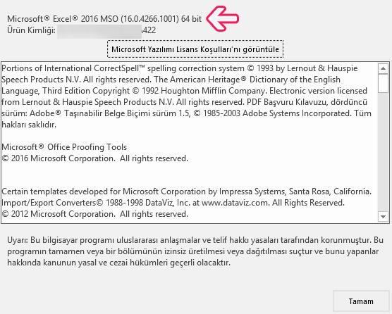 Microsoft Office'in Kaç Bit Olduğunu Nasıl Anlarım