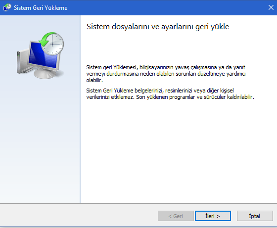 Windows 10'da Sistem Geri Yükleme