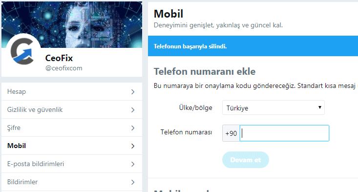 Twitter telefon numarasını kaldırma - ekleme yada düzenleme: