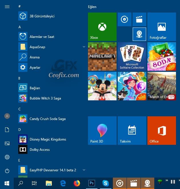 Windows 10 Başlat menüsünde tek tık ile birden fazla uygulamayı aç