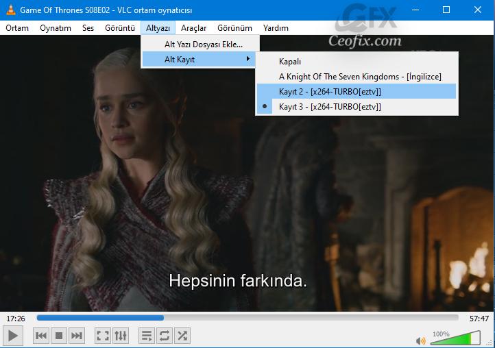 VLC playerda alt yazı dosyasını filme ekleme