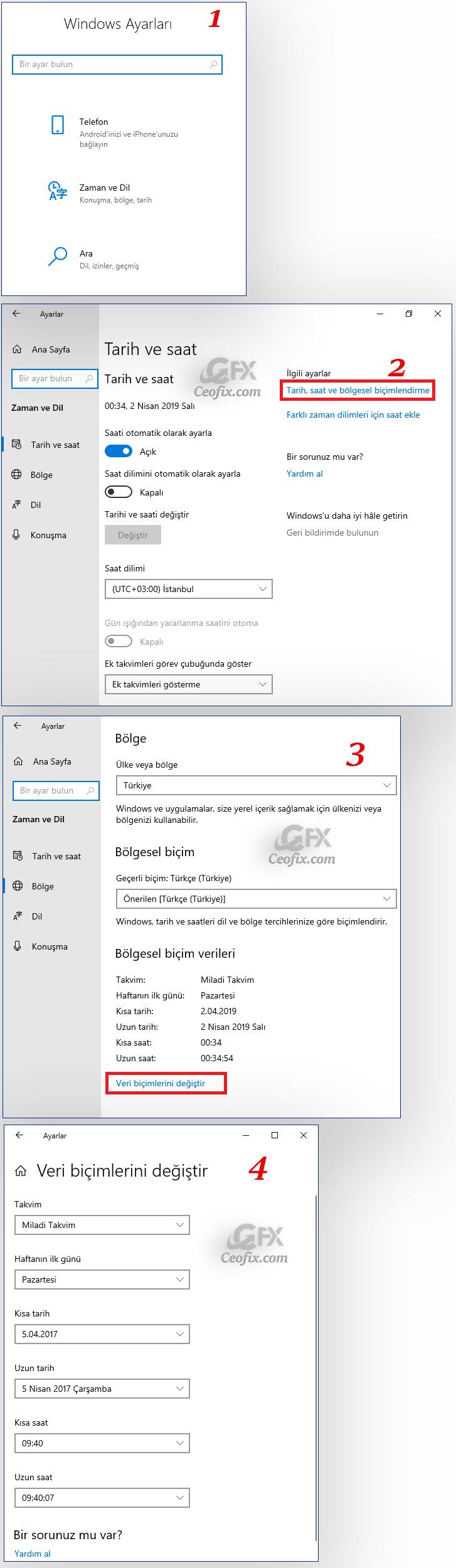 Windows 10'da konum ve bölgesel biçimler ayarları nasıl değiştirilir