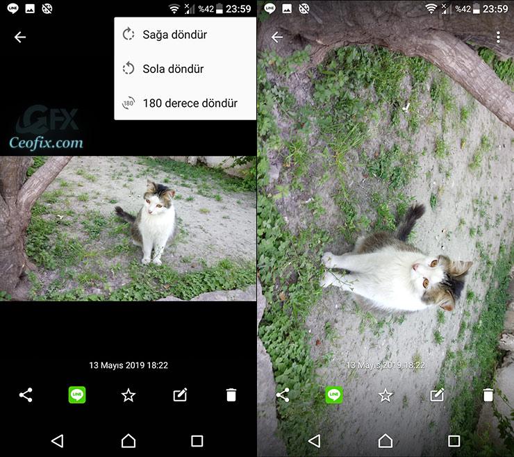 Android Telefon'da Albümdeki Fotoğrafları Döndürme