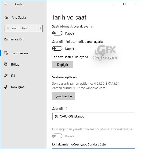 Windows 10 1903 ile Saat'i Sunucu'daki saat ile Eşitleme'nin Yolu