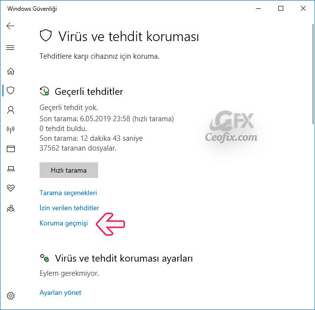 Windows 10'da Windows Defender Antivirus'ün Koruma Geçmişini Görüntüleme