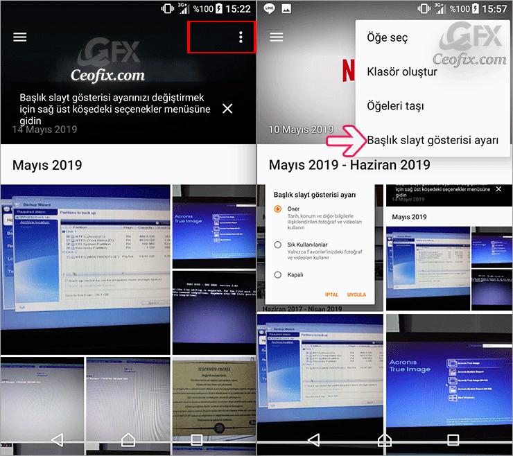 Android Telefonda Albüm Uygulamasında Başlık Resmini Seç