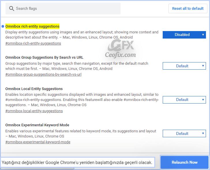 Chrome Arama Çubuğundaki Görüntüleri Devre Dışı Bırak