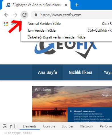 Chrome kullanıyorsanız tarayıcıyı nasıl yenileyebilir ve önbelleği temizleyebilirsiniz?
