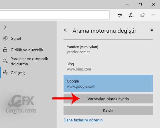 Edge Tarayıcısında Google Arama Moturunu Aktif Etme
