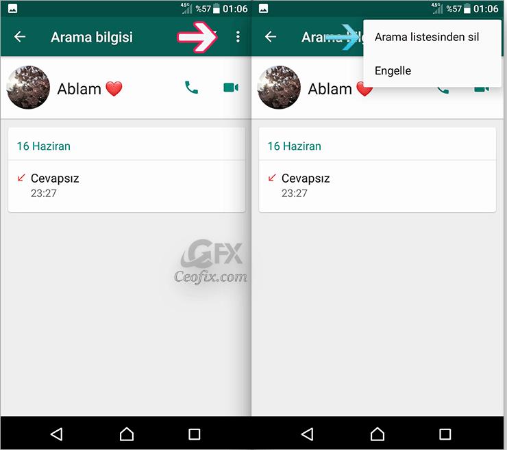 WhatsApp Arama kayıtlarını Tek tek Silme: