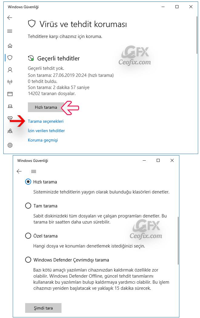 Virüs Taramasını Windows 10'da Manuel Olarak Çalıştırma