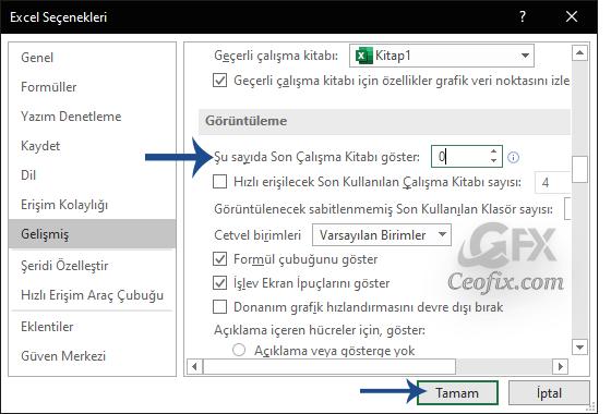 Word Ve Excel'de Açılan Son Dosyaları Gizleme