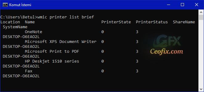 Windows 10'da Yüklü Olan Tüm Yazıcıları Listele