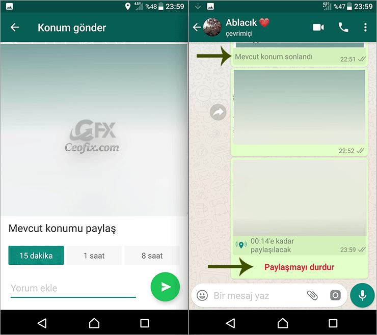 Whatsapp'da Mevcut Konum İle Şuanki Konum Arasındaki Fark Ne
