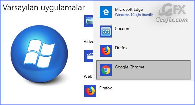 Windows 10'da Varsayılan Web Tarayıcısını Değiştirin