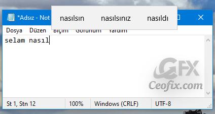Windows 10'da Donanım Klavyesi için Metin Önerilerini Açma