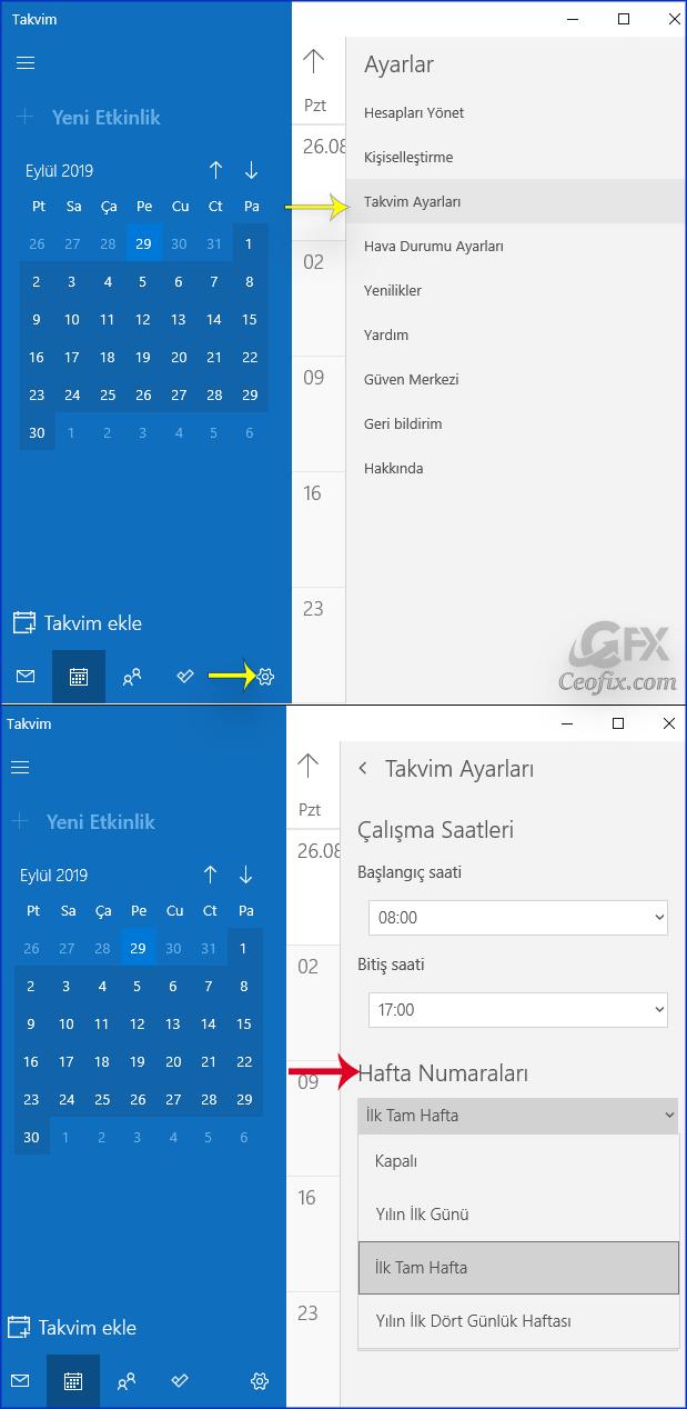 Windows 10 Takvim'de Hafta Sayılarını Göster yada Gizle