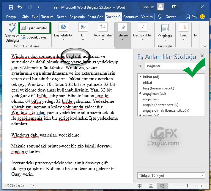 Eş Anlamlı Kelimeleri Microsoft Word ile Bul