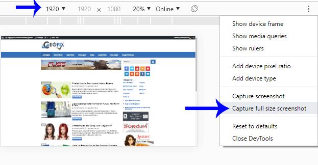 Chrome'da Tam Sayfa Ekran Görüntüsünü Eklentisiz Alın