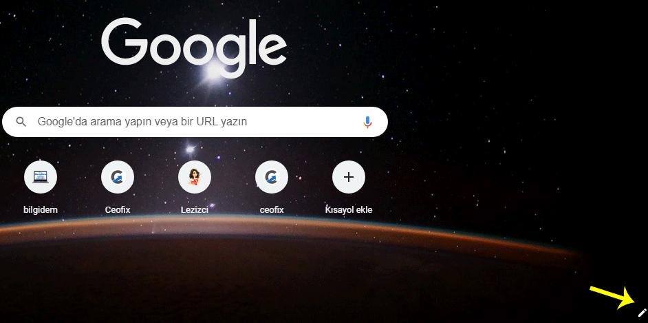 Chrome'da Yeni Sekme Sayfası için Düz Renk veya Temayı Seç